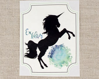 unicorn bookplates - blue unicorn book plates - Ex Libris - fantasy bookplate stickers - personalized gift under 20 - customized - bookworm