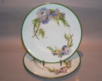 8455: Royal Doulton Glamis Thistle SET 2 Salad Luncheon Plates Artist P Curnock Vintage Fine China at Vintageway Furniture