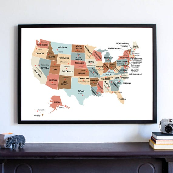 Housewarming Gift United States Map USA State Capitals - Map Of Us State Capitals