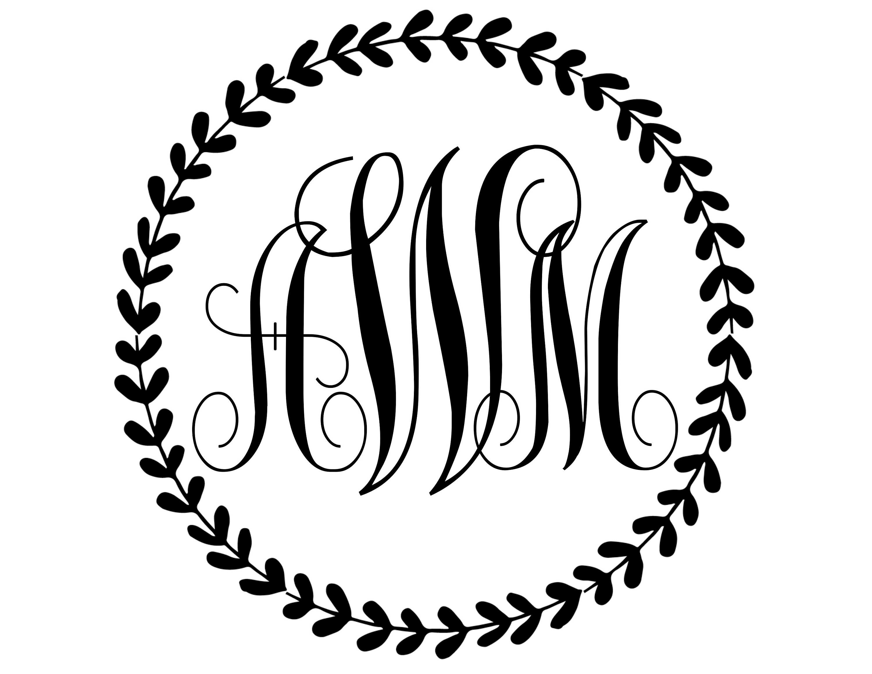 Classic Wedding Monogram Design With Floral Wreath Wedding