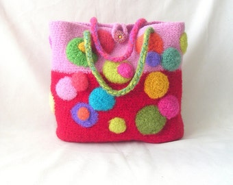 How to make Crochet Felted Bag Pattern Tutorial, Crochet Bag Pattern Circle Motif, Instant Download