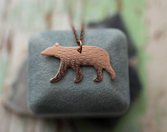 Hand Sawn and Etched Copper Furry Black Bear Necklace