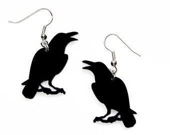 Black Crow Earrings // Raven Dangles // Halloween Jewelry // Gothic Fashion