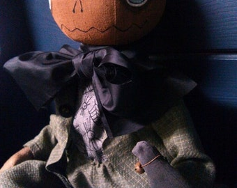 Sweet Mister Pumpkinhead and Crow- Primitive Folk Art Doll