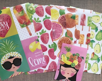 Planner divider set with matching page marker.  Six (6) A5 tabbed and laminated. Summer fruits.