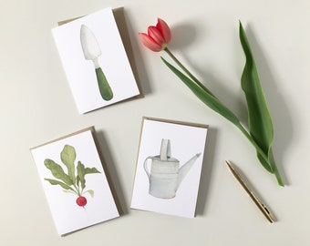 Spring Gardening Watercolor Notecard Set Three Blank Cards with Envelopes Watering Can Radish Hand Trowel Tools Gifts for Gardeners Under 15