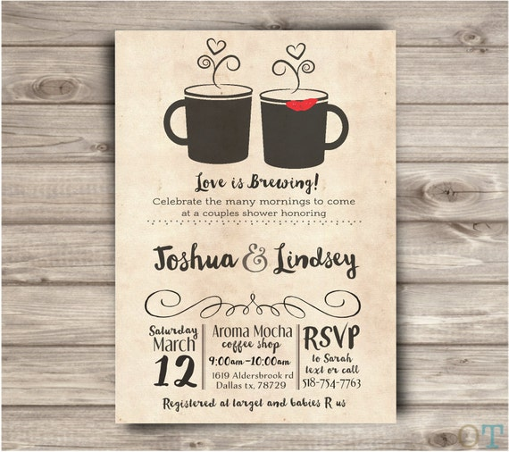 Coffee shop wedding shower invitations rustic simple bridal like this item filmwisefo Images