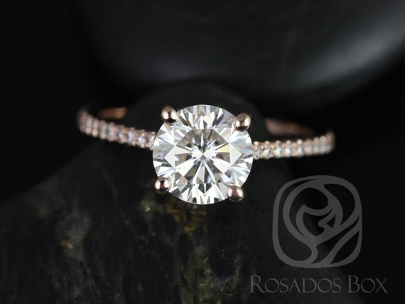 Rosados Box DIAMOND FREE Eloise 7mm 14kt Rose Gold Round F1- Moissanite and White Sapphires Cathedral Engagement Ring