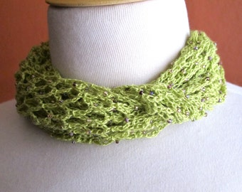 Lacy Green Beaded Scarf. Crochet. Necklace.