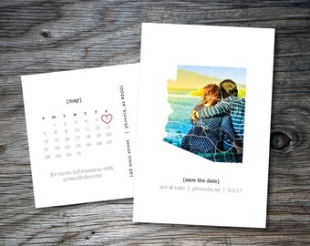 Arizona Save the Date, Save the Date Postcards, Printable, Calendar, State Outline, Arizona Couple, Wedding Announcement, Two Sides, Phoenix