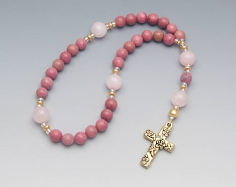 Anglican Prayer Beads - Women's Rosary - Pink Rhodonite & Rose Quartz Gemstones - Christian Gifts - Item # 821