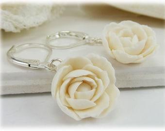 Peony Dangle Earrings - Peony Drop Earrings, November Birthday Flower