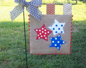 Burlap Garden Flag - 4th of July - Red - White - Blue - Stars - Embroidery Applique - Single sided