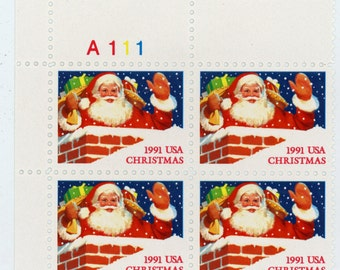 Four, Scott's  #2579, Year 1991,  Santa Claus in Chimney, Mint Un-used condition. 29 Cent Stamps,  Not printed on stamp.  369a