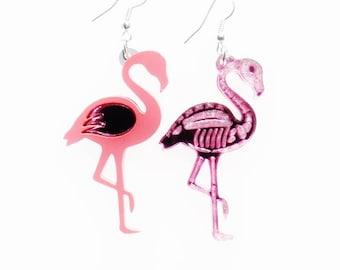 Flamingo reversible earrings