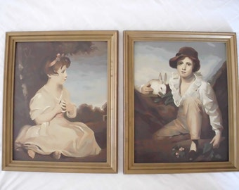 Vintage Paint by Number Painting Set // Original Framed PBN // Boy with Rabbit // Young Girl Age of Innocence // Oil Paintings