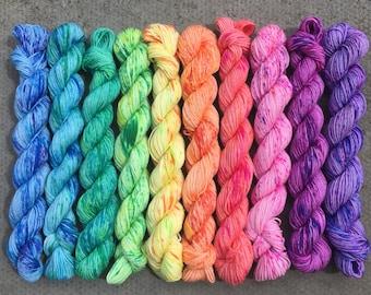 Rainbow Sorbet Sprinkles Miniskein Gift Set, 10 x 20g speckled merino nylon blend indie dyed sock yarn