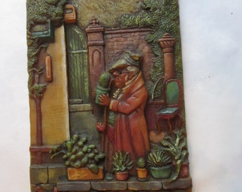 Rare Vintage German Folk Relief Wax Art Plaque