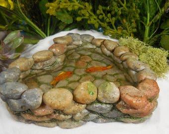 Fairy Garden Koi Pond ~ Miniature Faux Stone Fairy Pond Tiny Fish ~ Pond is Filled with Resin ~ Fairy Garden Terrarium Supplies & Accessory