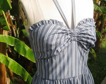 Clearance Sale Striped chambray RUFFLE 1940s style vintage style halter sundress Small or Large only
