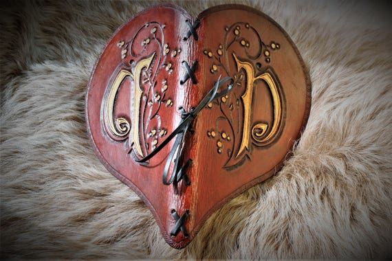 Copyright Heart shaped book carved leather handmade paper for wedding guestbook, journal in medieval style
