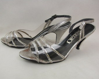 Vintage 1980s Dancing Shoes | Silver | Clear Plastic | Silver Sequins | Sling Backs | 8 M | Open Toe | Heels | Options