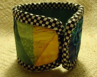 Pieced Green Blue and Yellow Cuff Bracelet