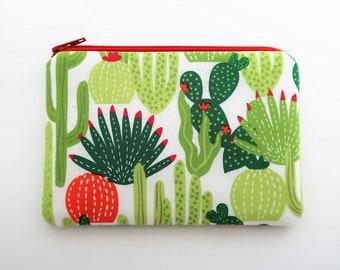 Cactus coin pouch - zipper coin purse wallet - cactus print fabric purse - cactus gift ideas for friends - zipper bag
