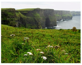 Photography Cliffs of Moher Fine Art Print 8 x 10-emerald isles-Romantic Mountains- Irish West Coast- Irelands Landscapes-Beauty Green Black