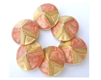 6 Vintage metal buttons, gold color with pink enamel designed buttons, shank buttons, 23mm