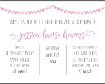 Handmade Christening/Naming Ceremony Invitations with Envelopes