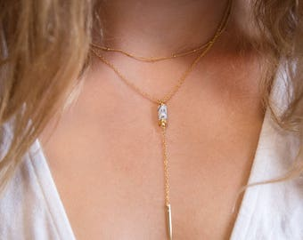 Dainty Lariat Necklace, Stone Bar Necklace, Bar Drop Necklace, Tube Necklace Gold, Gemstone Bar, Spike Jewelry, Y Necklace, Jewelry Gifts