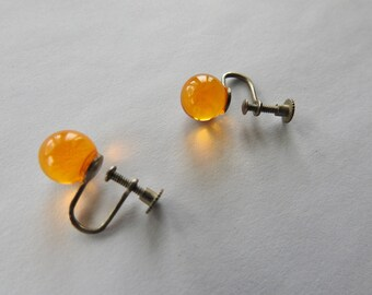 Antique Art Deco Apple Juice Bakelite Screw Back Earrings