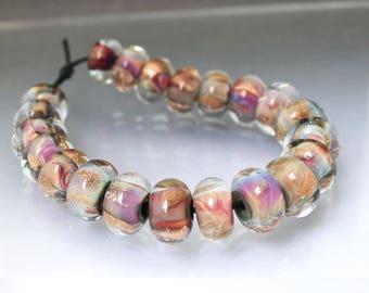 Large bead set 21 Purple lampwork bead set Lampwork glass bead set round beads Glass beads lampwork Purple Earring beads Anne Londez SRA