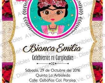 Frida Kahlo Invitations, Frida Kahlo Birthday Invitations, Frida Kahlo Mexican Party, Frida Kahlo Floral Invitations