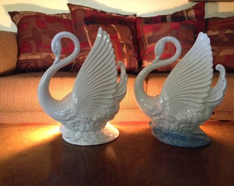 Maddox California USA Pottery White and White with Blue Glaze Ceramic Swan TV Lamps and Planters