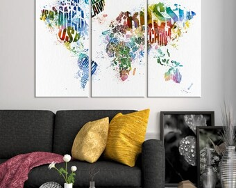Watercolor World Map Canvas Print - World Map Illustrated with Country Names on White Background Canvas Print, Wall Decal, Home Decor