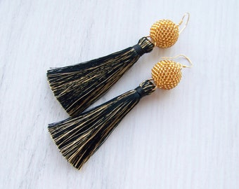 Black and gold tassel earrings - Luxury Dangle Fringe Earrings - Long Silk Tassle earrings - Statement tassle earrings with beaded ball