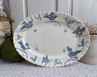 Antique french large blue transferware oval platter. Blue transferware birds oval platter. Jeanne d'Arc living. Shabby cottage French Nordic
