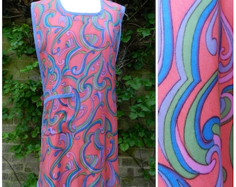 SALE 60s 70s psychedelic silky bold abstract scrolls  half pinny housecoat apron pink purple green blue M ~ L