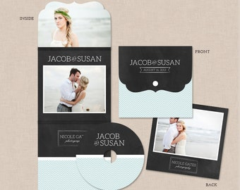Luxe dvd case template with DVD/CD disc label for photographers - Chevron & Chalkboard CL001