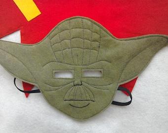 Felt Yoda style mask, costume for children dress up, Halloween, party, monster.