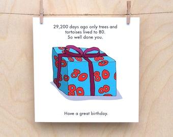Funny 80th birthday card, funny 80 card, 80th birthday card