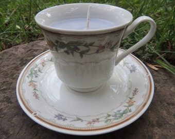Lavender Teacup Candle and Saucer