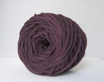 T-Shirt Yarn, Hand Dyed, Eggplant Purple, 60 Yards, T Shirt Yarn, T-Shirt Yarn, Purple T shirt Yarn