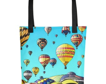"Balloon Fiesta Hot Air Balloons Art Design 15""x15"" Tote bag Carryall"