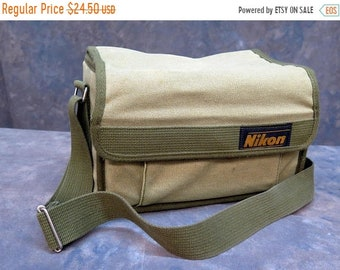 BTS Vintage Nikon Camera Green Canvas Bag Case with Dividers
