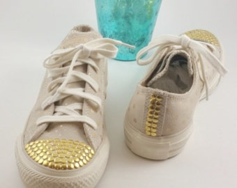 Beige Suede Gold Polka Dot  Converse-Gold Nail Head Toe-Custom Chucks -