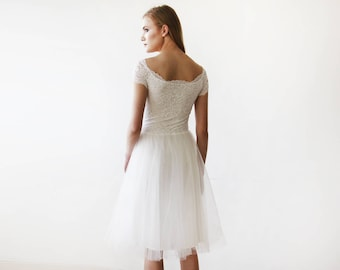 Ivory Off-the-Shoulders Tulle & Lace Midi Short Sleeves Dress 1153