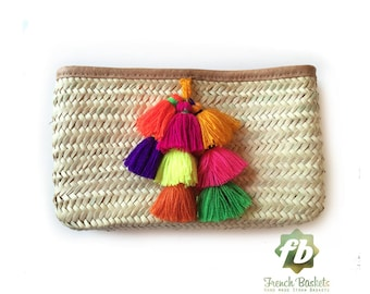 French Baskets clutch bags PomPom Bell :  French Basket, Moroccan Basket, straw bag, french market basket, Beach Bag, straw bag
